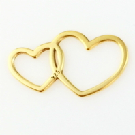 2 Sterling Silver Double Heart Charms 24K Gold Plated